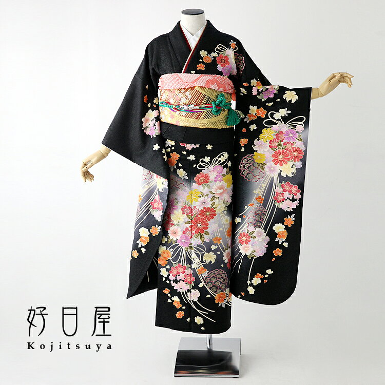 振袖 レンタル フルセット 正絹 着物 【レンタル】 結婚式 成人式 身長144-159cm 黒 bk-046