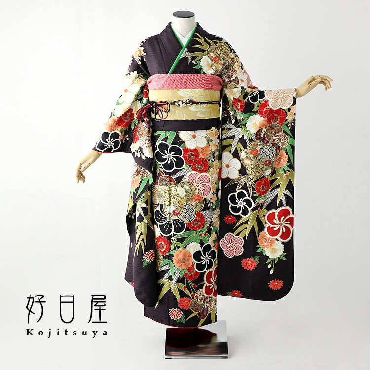 振袖 レンタル フルセット 正絹 着物 【レンタル】 結婚式 成人式 身長159-174cm 茶 br-009