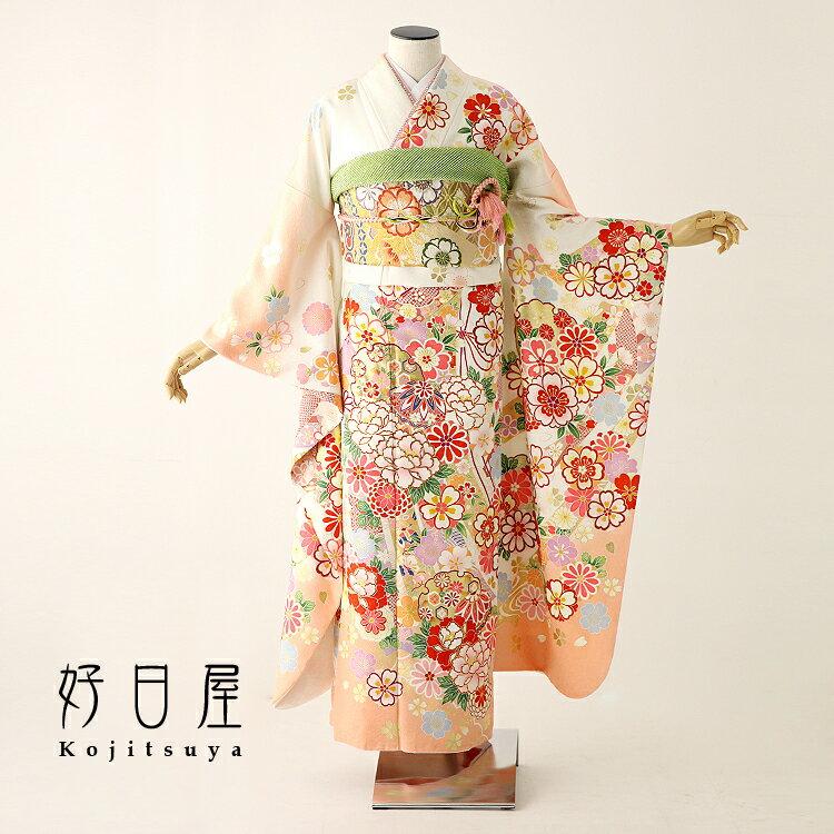振袖 レンタル フルセット 正絹 着物 【レンタル】 結婚式 成人式 身長155-170cm オレンジ or-006