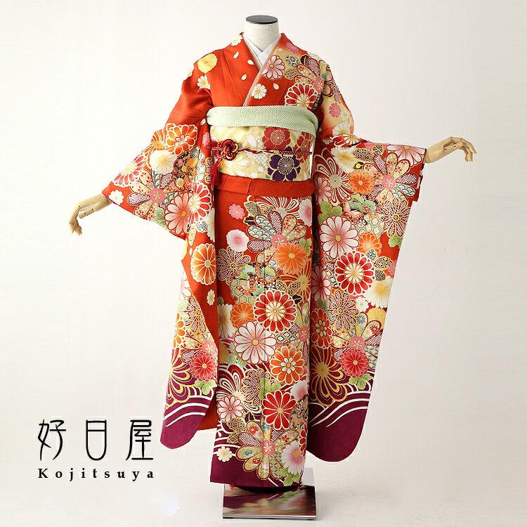 振袖 レンタル フルセット 正絹 着物 結婚式 成人式 身長159-174cm オレンジ or-007