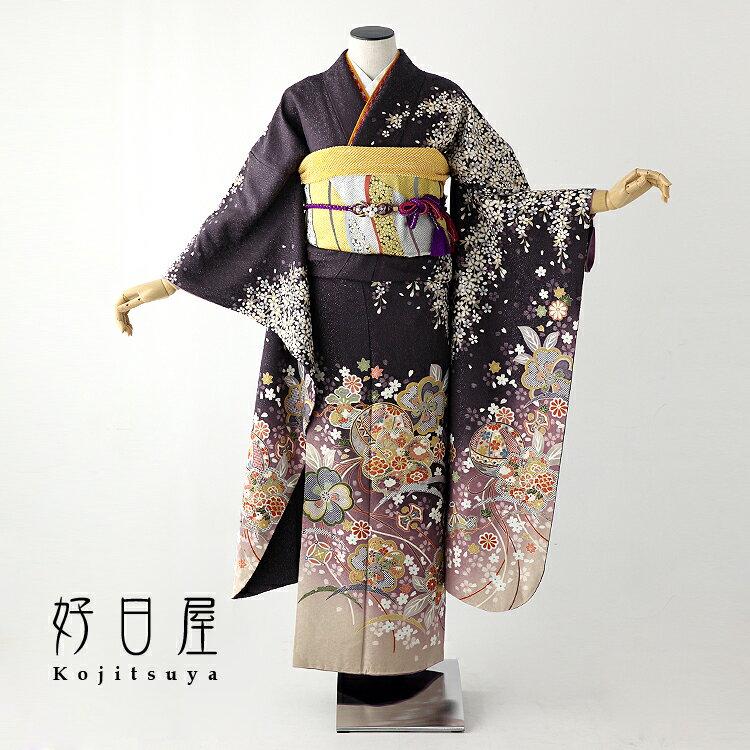 振袖 レンタル フルセット 正絹 着物 【レンタル】 結婚式 成人式 身長146-161cm 紫 pu-024