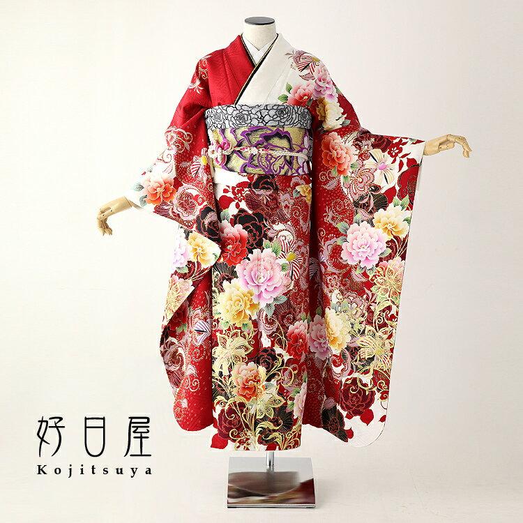 振袖 レンタル フルセット 正絹 着物 【レンタル】 結婚式 成人式 身長159-174cm 赤 re-049