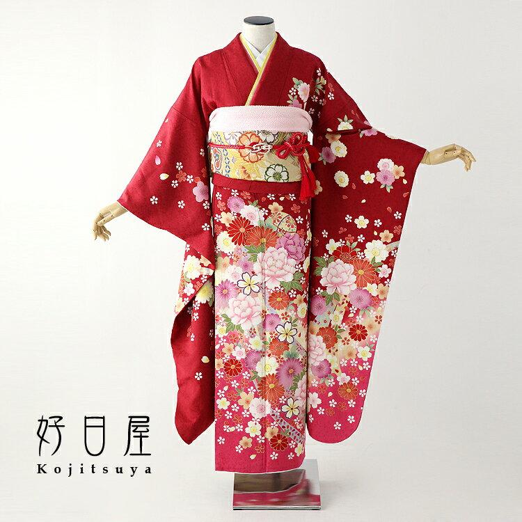 振袖 レンタル フルセット 正絹 着物 結婚式 成人式 身長155-170cm 赤 re-051