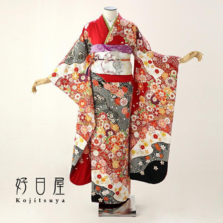 振袖 レンタル フルセット 正絹 着物 【レンタル】 結婚式 成人式 身長149-164cm 赤 re-052