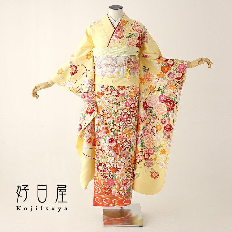 振袖 レンタル フルセット 正絹 着物 結婚式 成人式 身長157-172cm 黄 ye-011