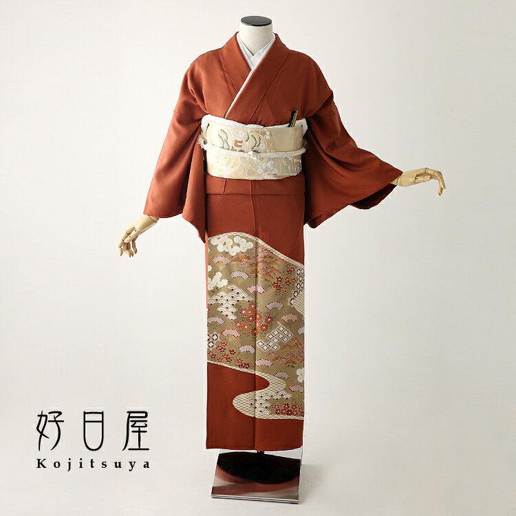 色留袖 レンタル フルセット 正絹 着物 結婚式 身長151-166cm 三つ紋 it-083