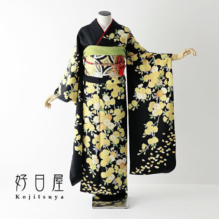 振袖 レンタル フルセット 正絹 着物 【レンタル】 結婚式 成人式 身長158-173cm 黒 bk-054