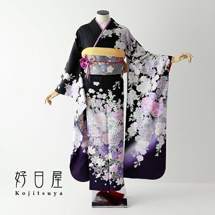 【レンタル】 振袖 フルセット 正絹 適応身長152〜167cm 黒 bk-058
