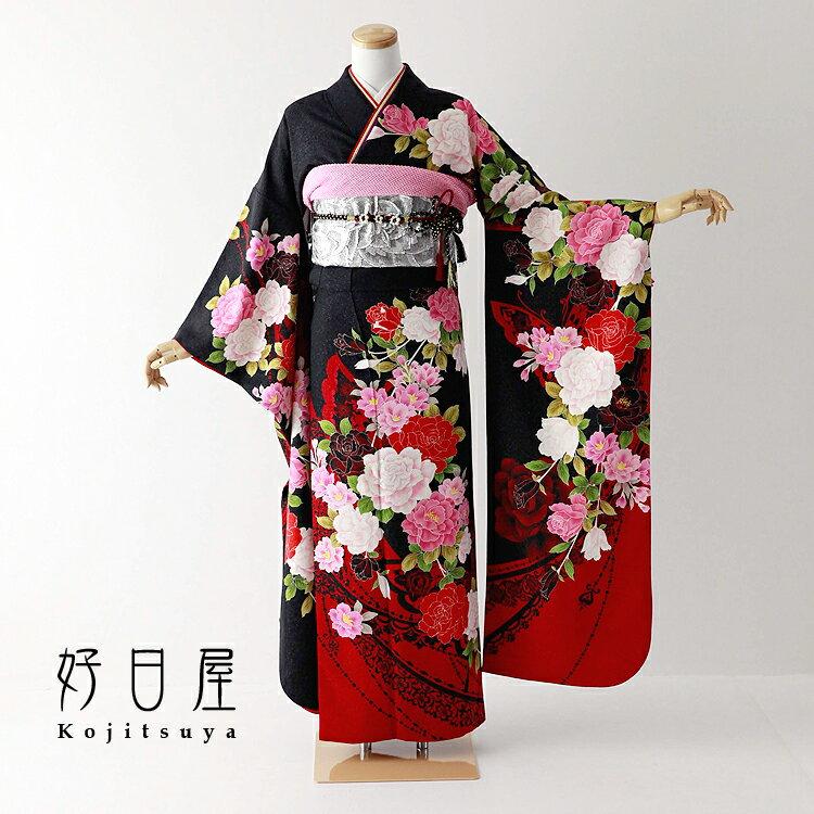 振袖 レンタル フルセット 正絹 着物 【レンタル】 結婚式 成人式 身長157-172cm 黒 bk-067