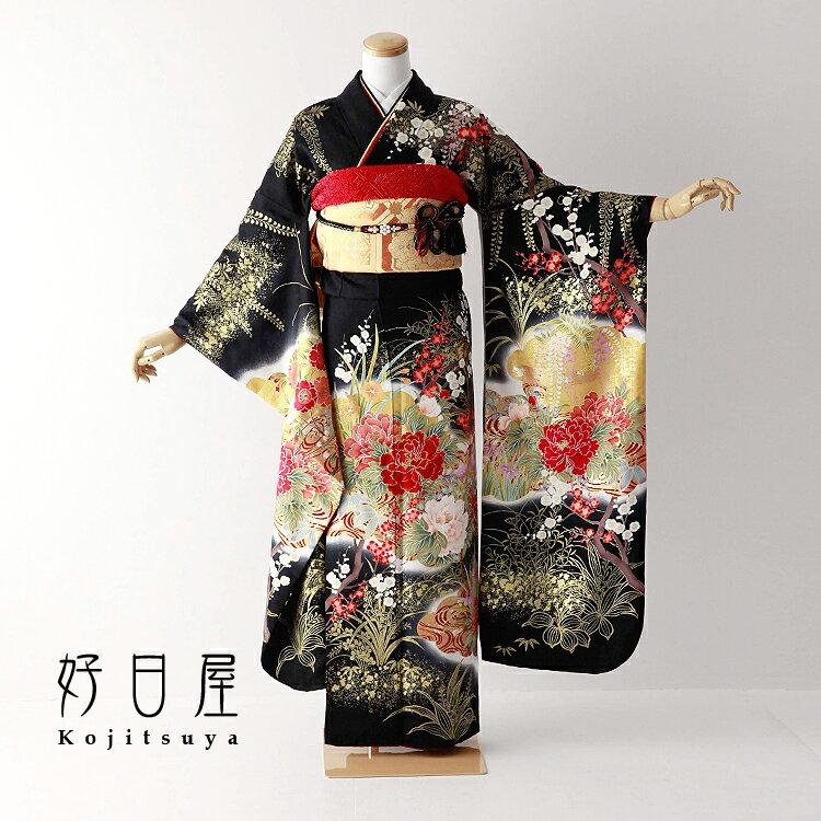 振袖 レンタル フルセット 正絹 着物 【レンタル】 結婚式 成人式 身長157-172cm 黒 bk-069-s
