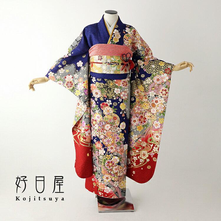 振袖 レンタル フルセット 正絹 着物 【レンタル】 結婚式 成人式 身長147-162cm 青 bl-028