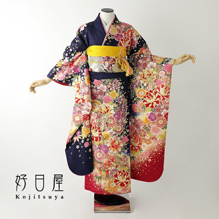 振袖 レンタル フルセット 正絹 着物 【レンタル】 結婚式 成人式 身長156-171cm 青 bl-029
