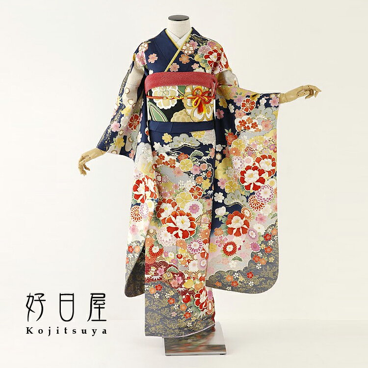 振袖 レンタル フルセット 正絹 着物 【レンタル】 結婚式 成人式 身長153-168cm 青 bl-033