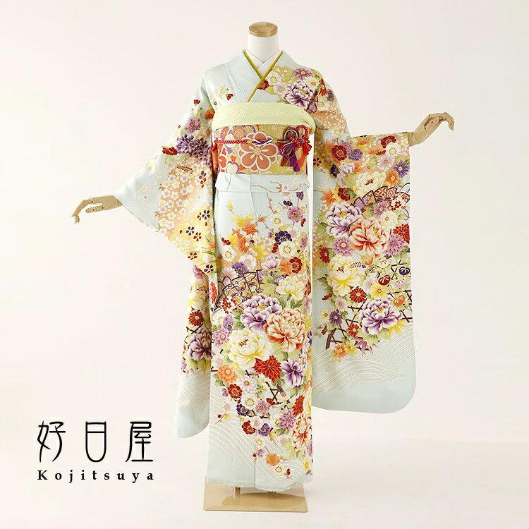振袖 レンタル フルセット 正絹 着物 【レンタル】 結婚式 成人式 身長159-174cm 青 bl-034