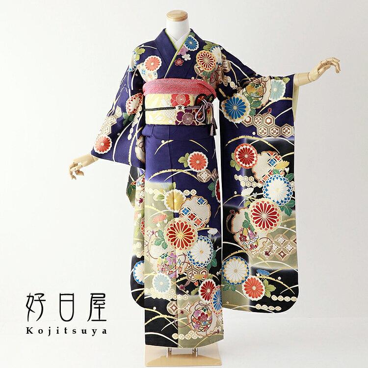 振袖 レンタル フルセット 正絹 着物 【レンタル】 結婚式 成人式 身長161-177cm 青 bl-036