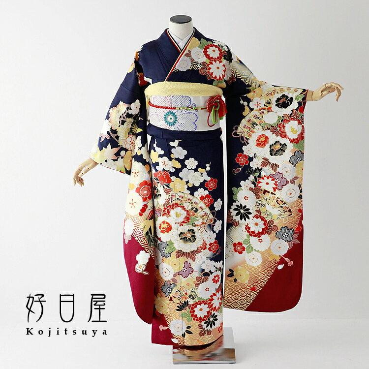 振袖 レンタル フルセット 正絹 着物 【レンタル】 結婚式 成人式 身長158-173cm 青 bl-037