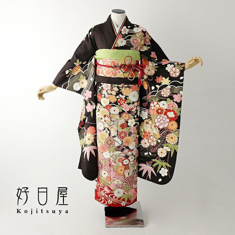 振袖 レンタル フルセット 正絹 着物 【レンタル】 結婚式 成人式 身長145-160cm 茶 br-013-s