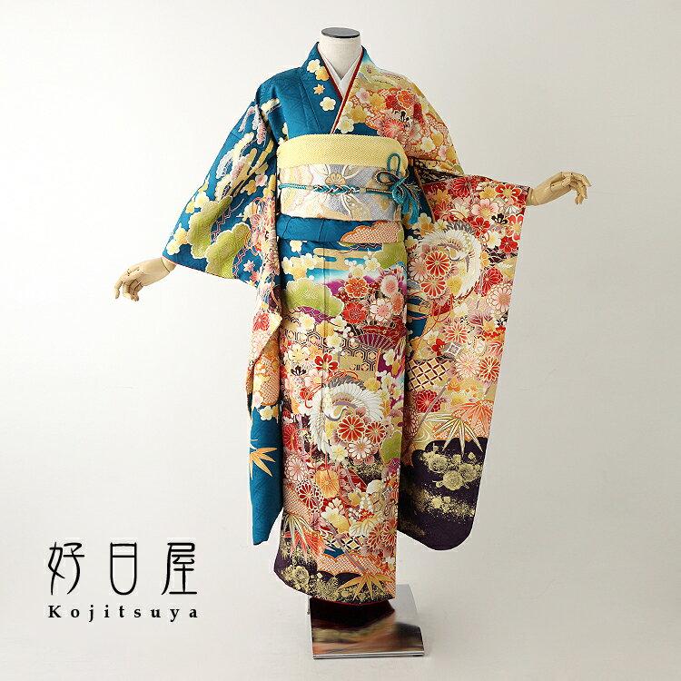 振袖 レンタル フルセット 正絹 着物 【レンタル】 結婚式 成人式 身長151-166cm 緑 gr-025