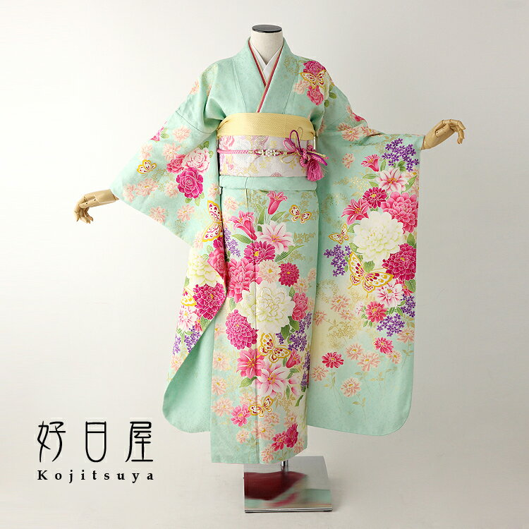 振袖 レンタル フルセット 正絹 着物 【レンタル】 結婚式 成人式 身長155-170cm 緑 gr-029