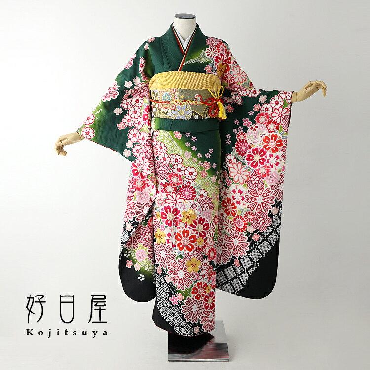振袖 レンタル フルセット 正絹 着物 【レンタル】 結婚式 成人式 身長158-173cm 緑 gr-030