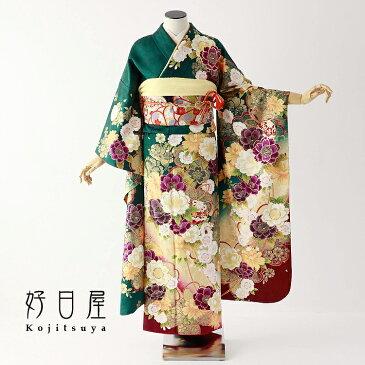 振袖 レンタル フルセット 正絹 着物 【レンタル】 結婚式 成人式 身長155-170cm 緑 gr-034