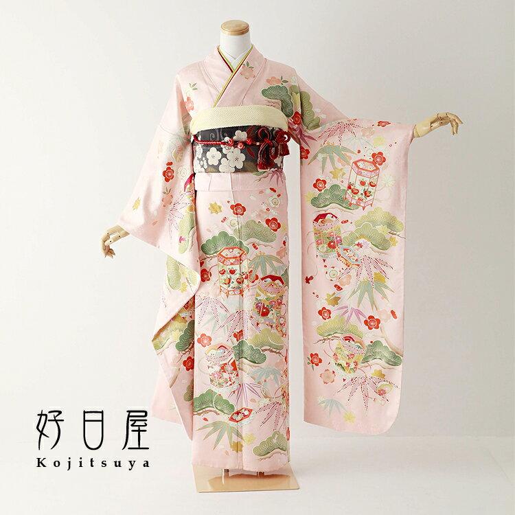 振袖 レンタル フルセット 正絹 着物 【レンタル】 結婚式 成人式 身長157-172cm ピンク pi-030