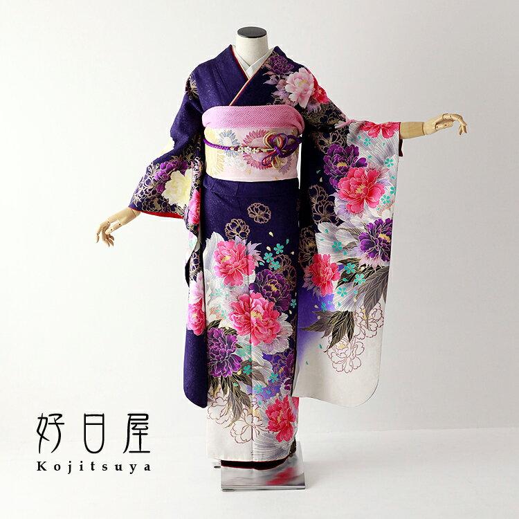 振袖 レンタル フルセット 正絹 着物 【レンタル】 結婚式 成人式 身長151-166cm 紫 pu-027