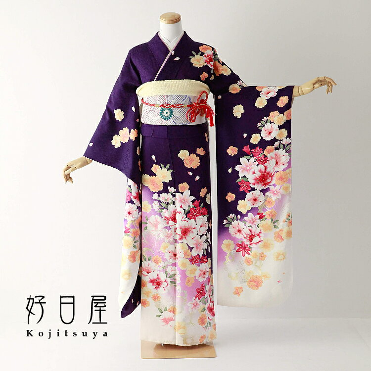 振袖 レンタル フルセット 正絹 着物 【レンタル】 結婚式 成人式 身長152-167cm 紫 pu-035