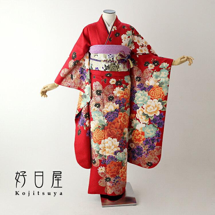 振袖 レンタル フルセット 正絹 着物 【レンタル】 結婚式 成人式 身長149-164cm 赤 re-056-s