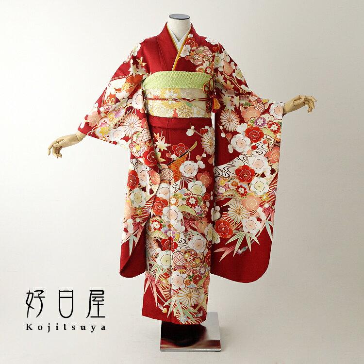 振袖 レンタル フルセット 正絹 着物 【レンタル】 結婚式 成人式 身長147-162cm 赤 re-057