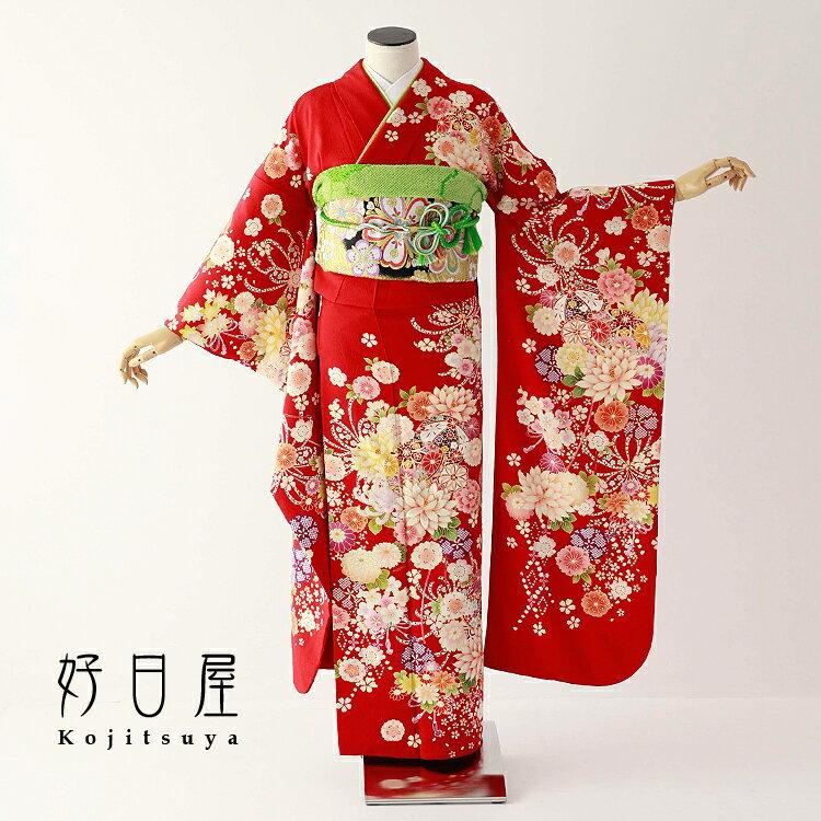 振袖 レンタル フルセット 正絹 着物 【レンタル】 結婚式 成人式 身長150-165cm 赤 re-069-s