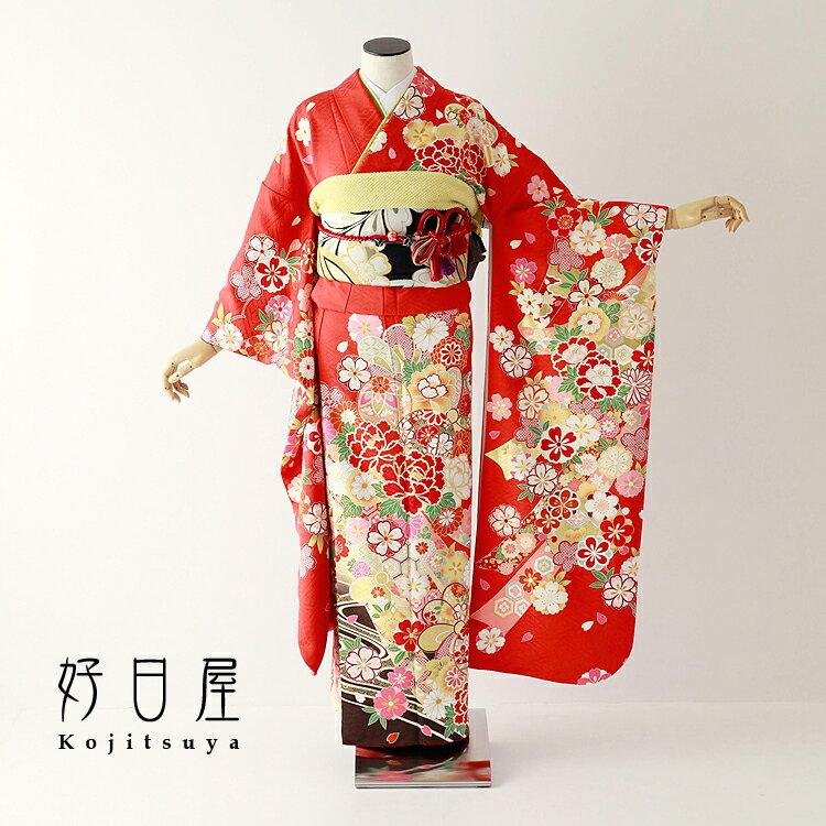振袖 レンタル フルセット 正絹 着物 結婚式 成人式 身長150-165cm 赤 re-071