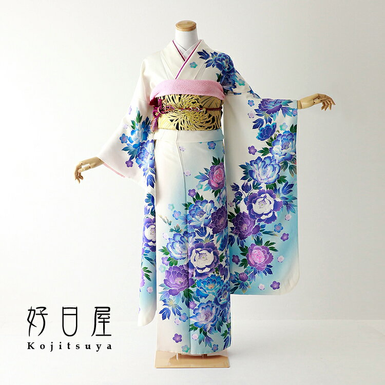 振袖 レンタル フルセット 正絹 着物 【レンタル】 結婚式 成人式 身長153-168cm 白 wh-054-s