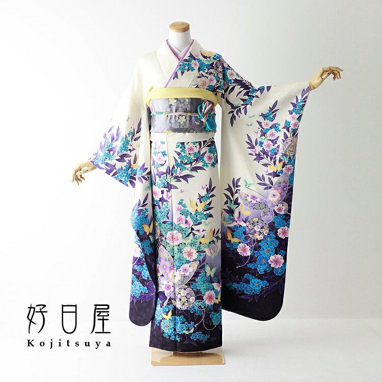 振袖 レンタル フルセット 正絹 着物 【レンタル】 結婚式 成人式 身長158-173cm 白 wh-055