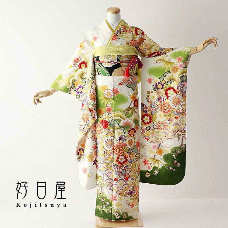 振袖 レンタル フルセット 正絹 着物 【レンタル】 結婚式 成人式 身長147-162cm 白 wh-059