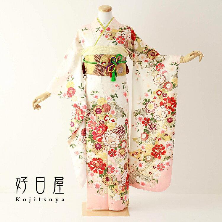 振袖 レンタル フルセット 正絹 着物 【レンタル】 結婚式 成人式 身長150-165cm 白 wh-065-s