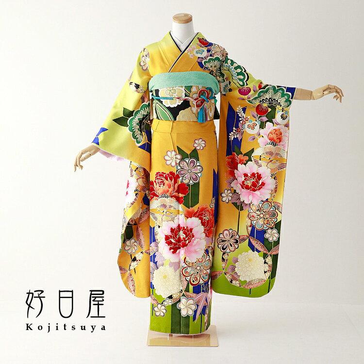 振袖 レンタル フルセット 正絹 着物 【レンタル】 結婚式 成人式 身長158-173cm 黄 ye-014