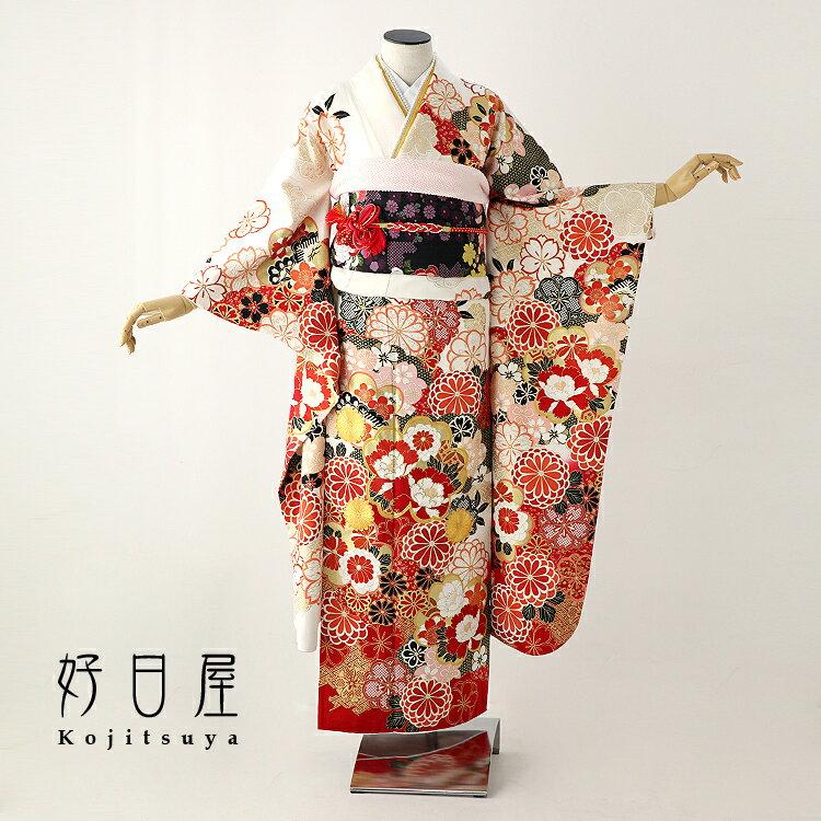振袖 レンタル フルセット 正絹 着物 【レンタル】 結婚式 成人式 身長146-161cm 白 wh-042