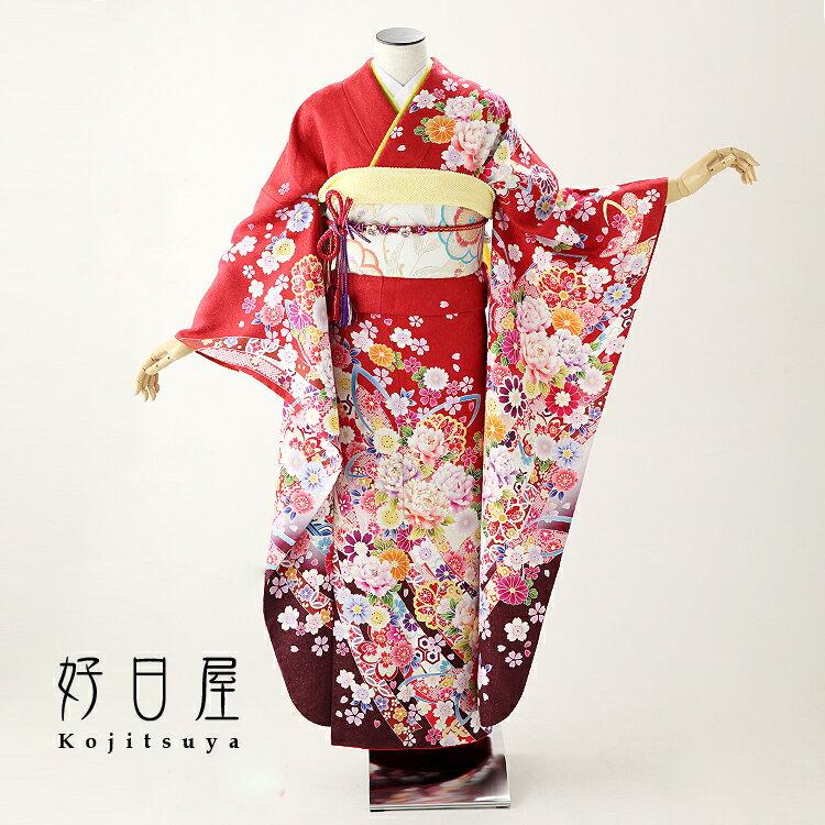 振袖 レンタル フルセット 正絹 着物 【レンタル】 結婚式 成人式 身長161-176cm 赤 re-054-s