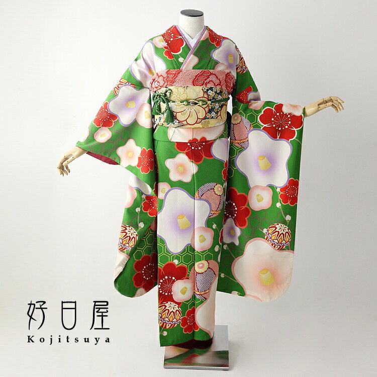振袖 レンタル フルセット 正絹 着物 【レンタル】 結婚式 成人式 身長153-168cm 緑 gr-024-s