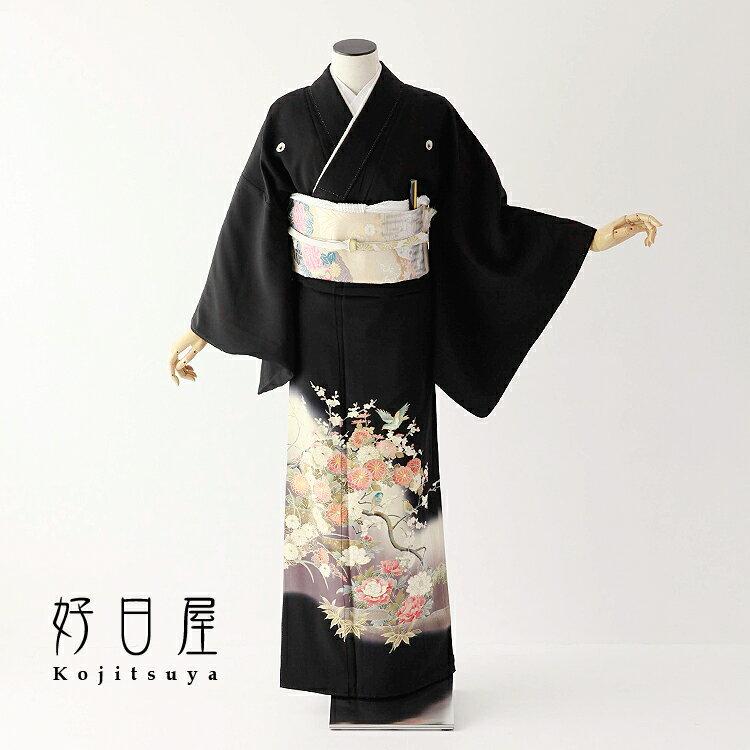 留袖 レンタル フルセット 正絹 着物 【レンタル】 結婚式 黒留袖 身長155-170cm 五つ紋 t-057