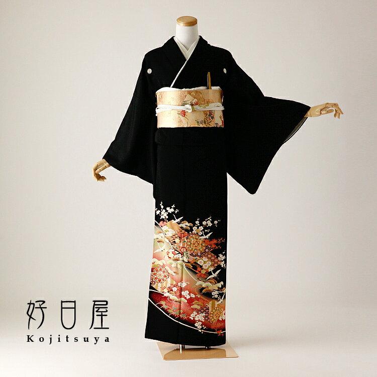留袖 レンタル フルセット 正絹 着物 【レンタル】 結婚式 黒留袖 身長155-170cm 五つ紋 t-100