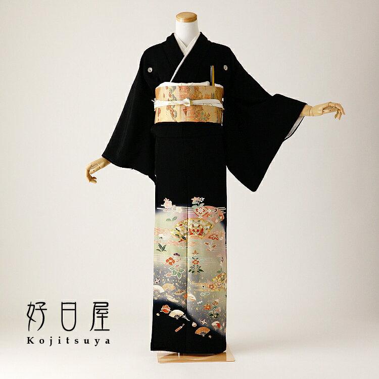 留袖 レンタル フルセット 正絹 着物 【レンタル】 結婚式 黒留袖 身長150-165cm 五つ紋 t-101
