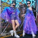 キッズダンス 衣装 ヒップホップ 女の子 子供服 セットアップ 女の子 パープル キラキラ レース トップス ショートパンツ ガールズ ステージ衣装 団体服 練習着 舞台衣装 発表会 hiphop 演出服 おしゃれ 120-160cm