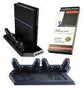 PS4 多機能縦置きスタンド コントローラー2台充電 USB...