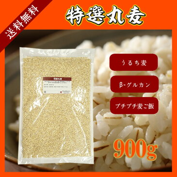 特選丸麦 900g〔チャック付〕 メール便 送料無料 チャック付 国産 特選 大麦 食物繊維 βグルカン こわけや