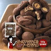 【おすそ分け付!】\至福!/ピーカンナッツチョコ&アーモンドチョコ《ココア》500g〔チャック付〕送料無料チャック付ココアチョコレートペカンナッツこわけや