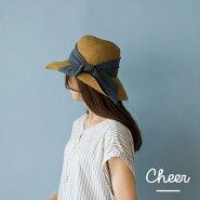 【送料無料】【Cheer】アンダリデンタートリボンHATハット帽子つば広め【メール便不可】