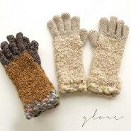 NEW!【Cheer】3種類の毛糸のモコモコした質感のかわいいグローブレディース【メール便可】