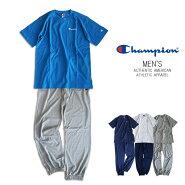 【送料無料】Championメンズ半袖Tシャツ&長ズボン上下セット長パンツセットアップルームウエア